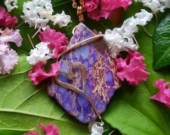 Purple Copper Heart Necklace