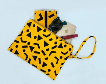 Yellow and Black Canvas Geometric Hand Printed Clutch Bag