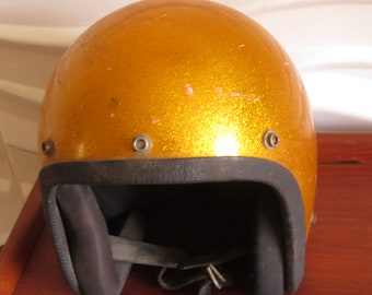 108481bb884b1 Super cool 1973 gold glitter sparkle motorcycle helmet - size small - great  for your vintage room decor - costume - biker events!