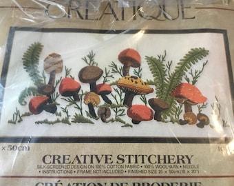 70s Creatique Mushroom Crewel Kit, Field of Mushrooms
