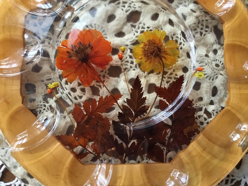 Vintage 70s Lucite Trivet and Deviled Egg Serving Platter Dried Flower Trivet and Platter