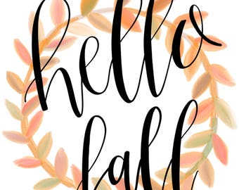 Hello Fall Floral Wreath Print | Digital Download | Autumn Decor | Modern Calligraphy | Wall Art