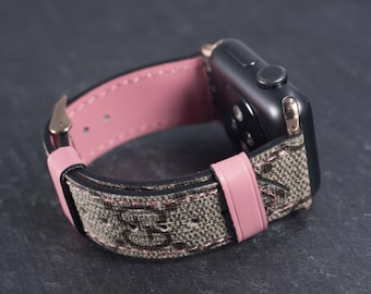 20f48828f Gucci Apple Watch Band Series 1 2 3 4 Authentic Gucci Apple Watch Band Handmade  Gucci Watch Band Pink Accents