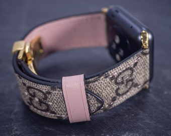 7fdd1ee0495 Gucci Apple Watch Band Series 1 2 3 4 Authentic Gucci Apple Watch Band  Handmade Gucci Watch Band Pink Accents