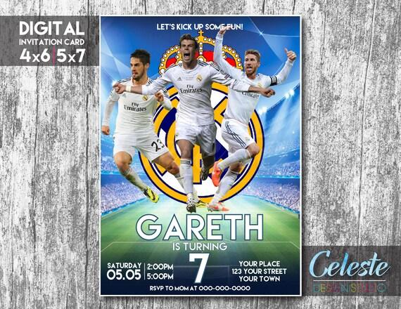 Real Madrid Invitation Real Madrid Party Digital Invitation Card Digital Custom Invitation Soccer Birthday Invitations