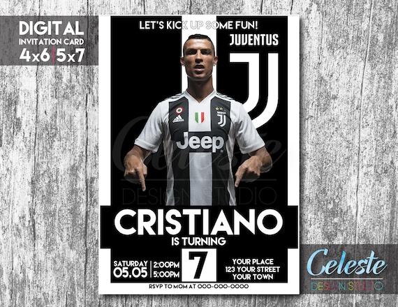 Invitación De La Juventus Cristiano Ronaldo Juve Tarjeta De Invitación Digital Invitación Personalizada Digital Invitaciones De Cumpleaños De