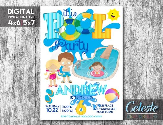 Pool Party Invitation Pool Party Digital Invitation Card Digital Custom Invitation Pool Party Birthday Invitations