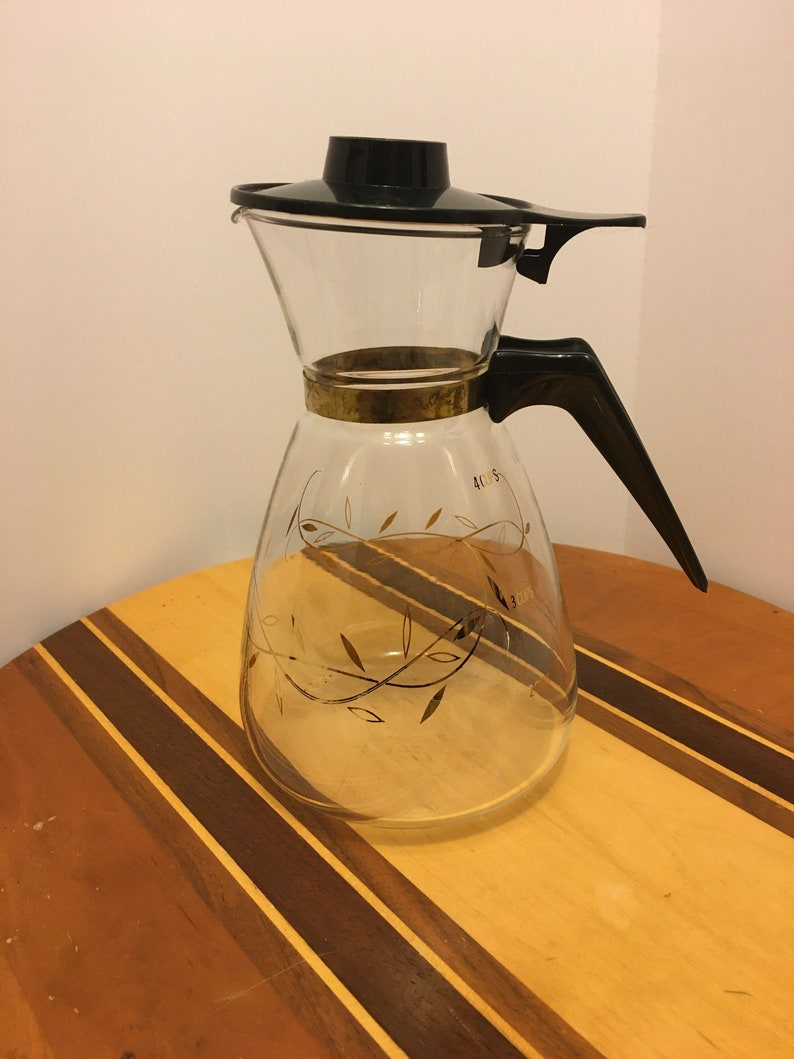 Vintage Tricolette Flameproof Clear Glass Coffee Carafe Gold Leaves 2-4 cups