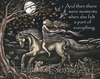 A Part of Everything Matted Print - Scratchboard Quote Art - Black and White Inspirational Word Art - Horse & Girl Illustration - Full Moon