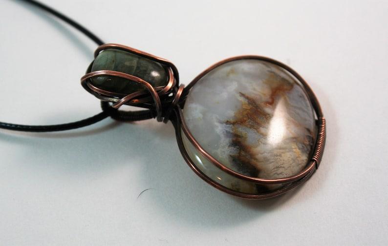 Labradorite pendant  agate necklace  wire wrapped pendant  wire wrap  healing stone