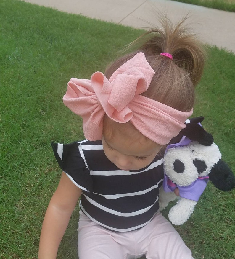 Rose/' Pink Messy Bow Headband
