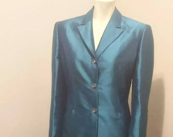Vintage 90's Couture Gianni Versace Teal Pant Suit Made in Italy