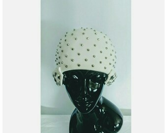 Vintage Rare 1950 s Yves Saint Laurent Silver Tone Studded Embellished  White Felted Fur Cap with Geometric Details  YSL Rare Hat 1950 s 44bdd561453