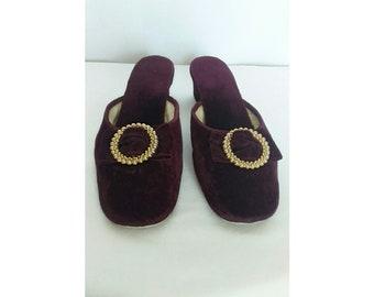 70bf0b054327 Vintage 1960 s Elastomere Wine Mule Velvet Heeled Slippers made in France   Velvet Heeled Slippers Size 8