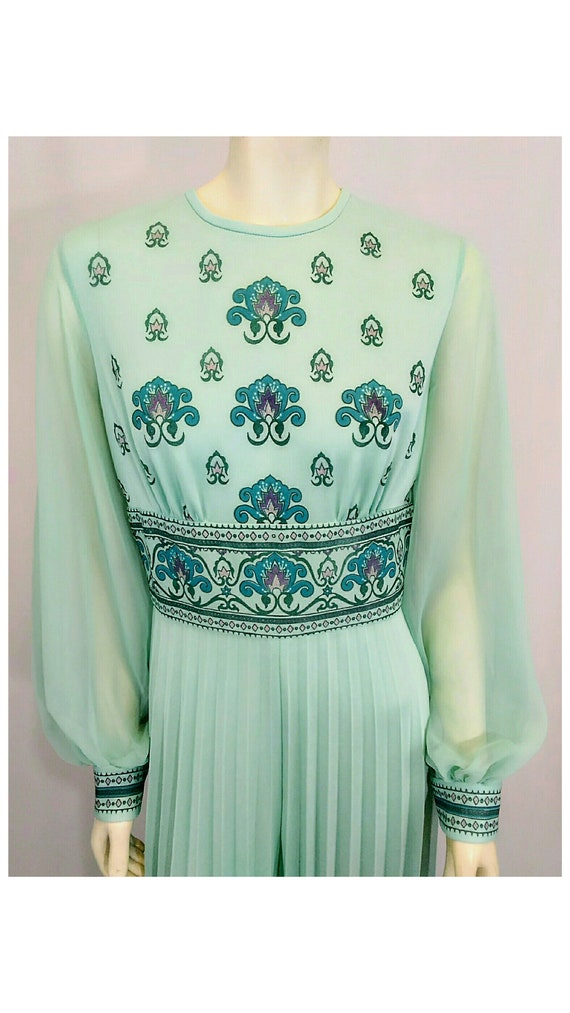 Vintage 1970's Designer Alfred Shaheen Pleated Pa… - image 2