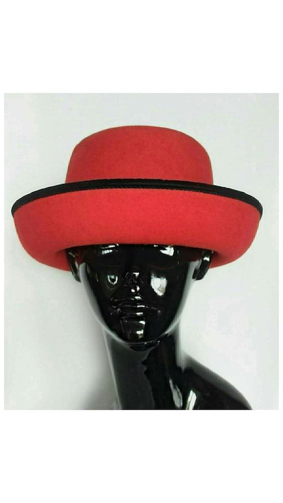 Vintage 1980's BetMar Red Wool Hat w/Velvet Black