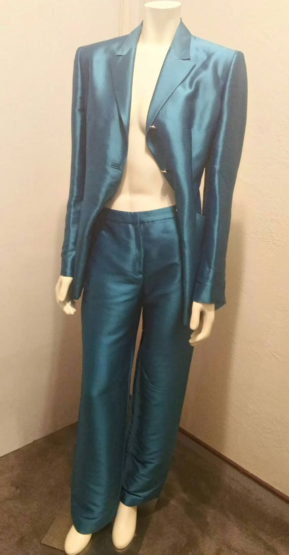 Vintage 90's Couture Gianni Versace Teal Pant Sui… - image 3