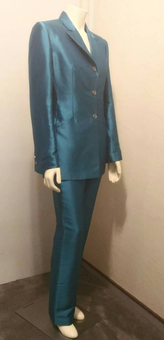 Vintage 90's Couture Gianni Versace Teal Pant Sui… - image 4