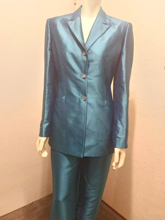Vintage 90's Couture Gianni Versace Teal Pant Sui… - image 2