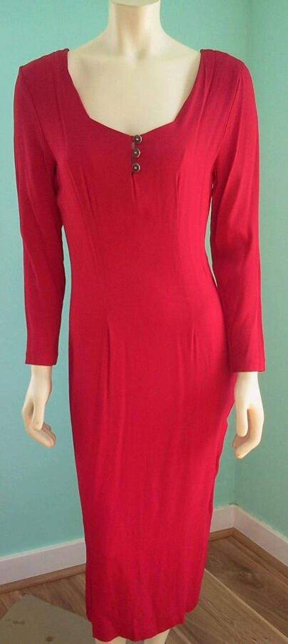 Vintage 1990's Holiday Red Dress; Sexy Lipstick Re