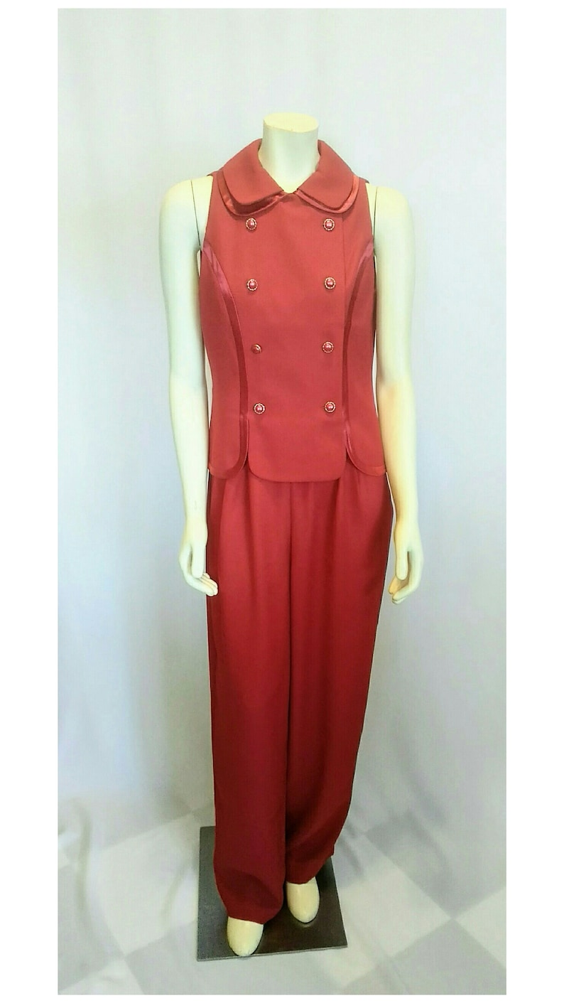Christmas Red Tuxedo Style  Pant Suit 2 Piece with Reddish Pink Satin Trim Vintage 1980/'s1990/'s  Reggio
