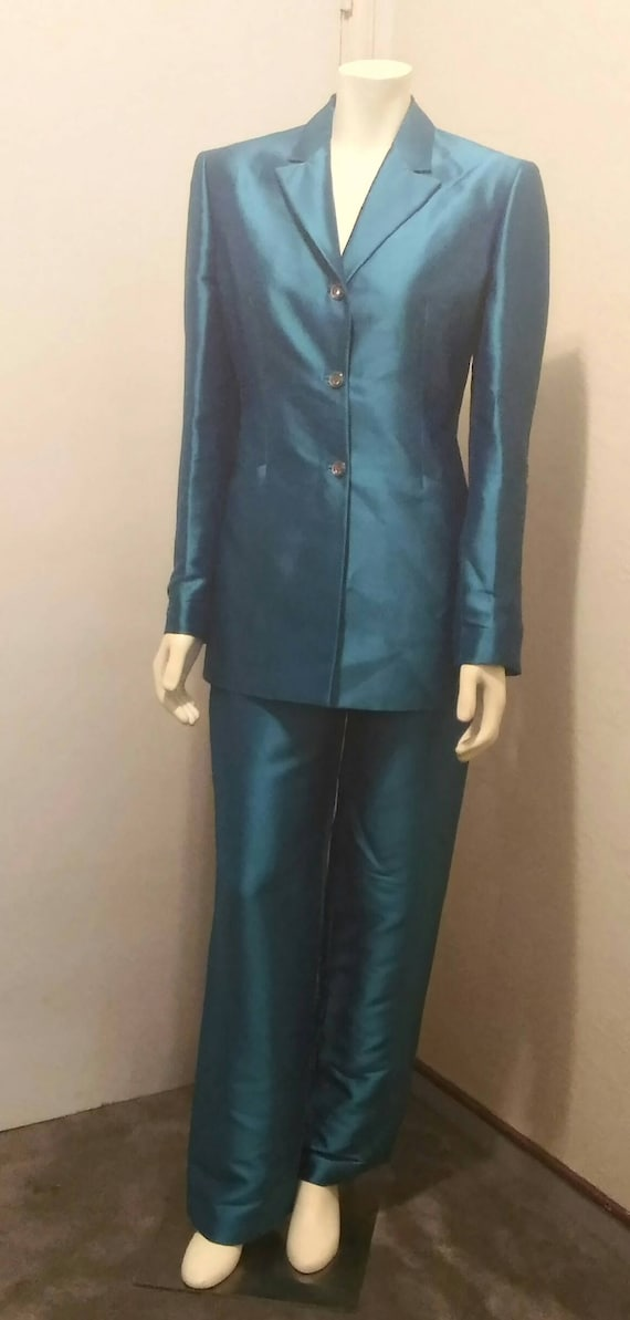 Vintage 90's Couture Gianni Versace Teal Pant Suit