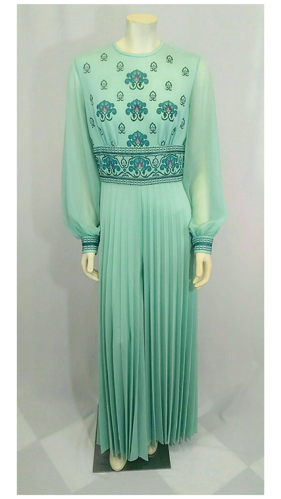 Vintage 1970's Designer Alfred Shaheen Pleated Pa… - image 3