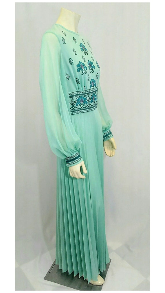 Vintage 1970's Designer Alfred Shaheen Pleated Pa… - image 6