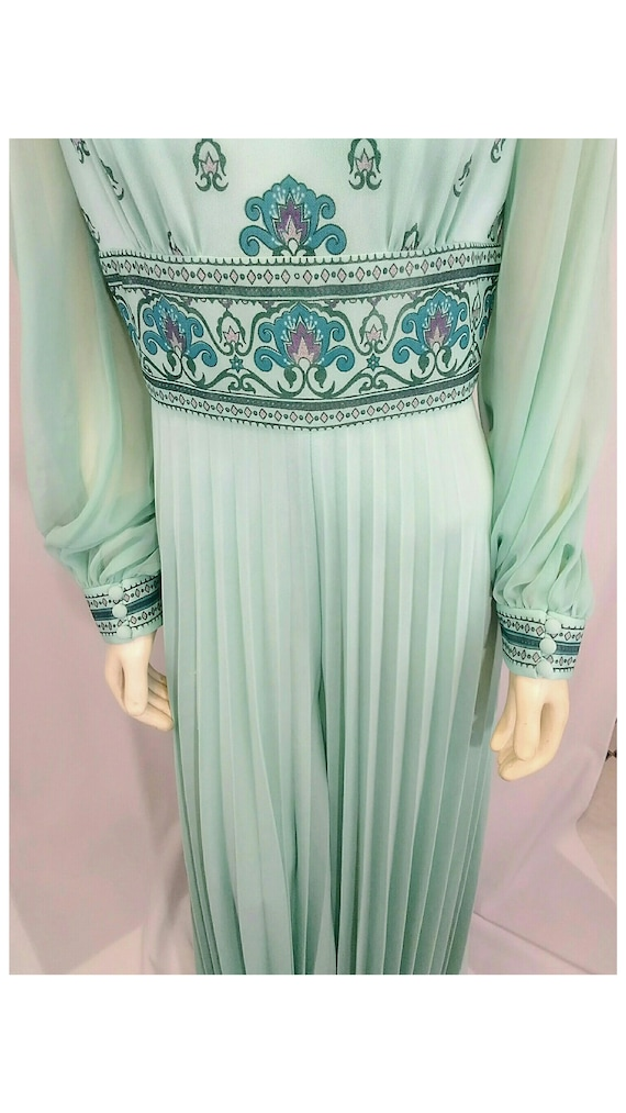 Vintage 1970's Designer Alfred Shaheen Pleated Pa… - image 4