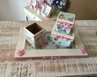 floral wooden jewelry  accesory  box