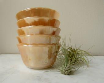 Vintage Fire King Peach Lustre Custard Cups