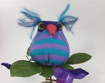 Small fabric owl decor, #244 owl on stand