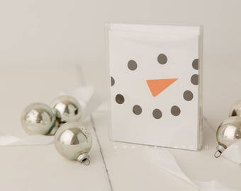 Let it Snow Frosty Minimal Holiday Greeting Card 5 card pack