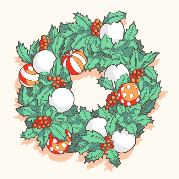 Drawings Of Christmas Wreaths.Downloadable Christmas Wreath Art Print Cheap Christmas Decoration Drawing Holly Wreath Illustration Printable Mint Green Red Berries