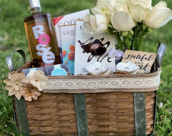 Large Wicker and Metal Gift Basket