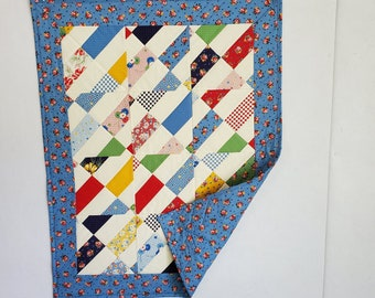 Baby Quilt, patchwork, scrappy diagonal design, new feed sack fabric, blue, white, multi, OOAK