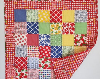 Baby Quilt, patchwork, scrappy design, Red and multi, Moda fabric, OOAK