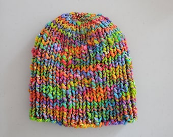 CAP, LARGE size, handknit beanie, 100% merino wool, Handspun in orange, blue, rainbow colors, OOAK