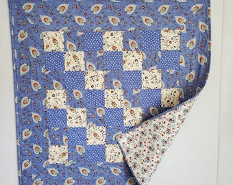 Baby Quilt, Provence style  patchwork, blue, white, multi, OOAK