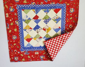 Baby Quilt, Provence style patchwork, scrappy design, Red and multi, Moda fabric, OOAK