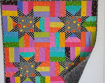 Baby Quilt, Four Star, patchwork, Rainbow and black colors, OOAK