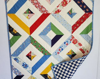 Baby Quilt, patchwork, scrappy design, vintage look, white and multi colors, OOAK