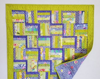 Baby Quilt, rail fence pattern, patchwork,  Kaffe Fassett fabric, blue and lime, OOAK