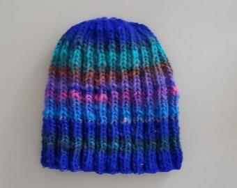 Beanie Cap, Multi, bright blue with green stripe, 100% wool, handknit, size M-L