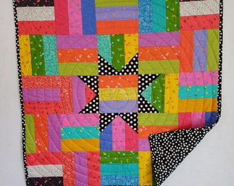 Baby Quilt, Bright Star, patchwork, Rainbow and black colors, OOAK