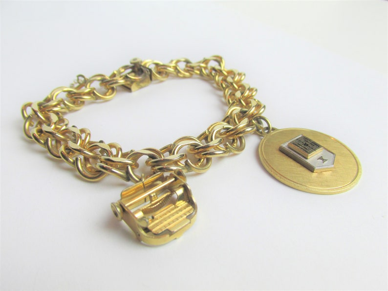 be2728bf871f4 Signed ELCO Charm Bracelet with Typewriter Charm Vintage