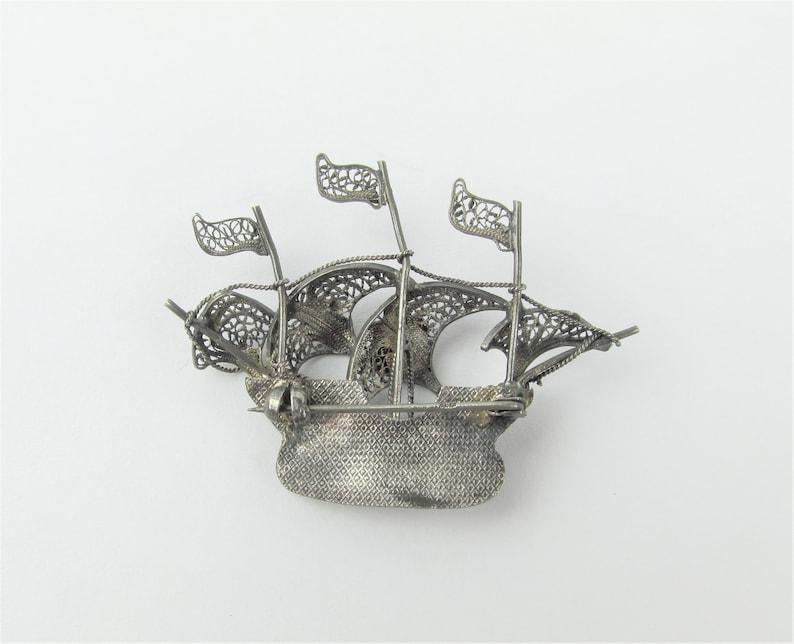 Antique 835 Silver Galleon  Sailing  Pirate Ship Filigree Brooch