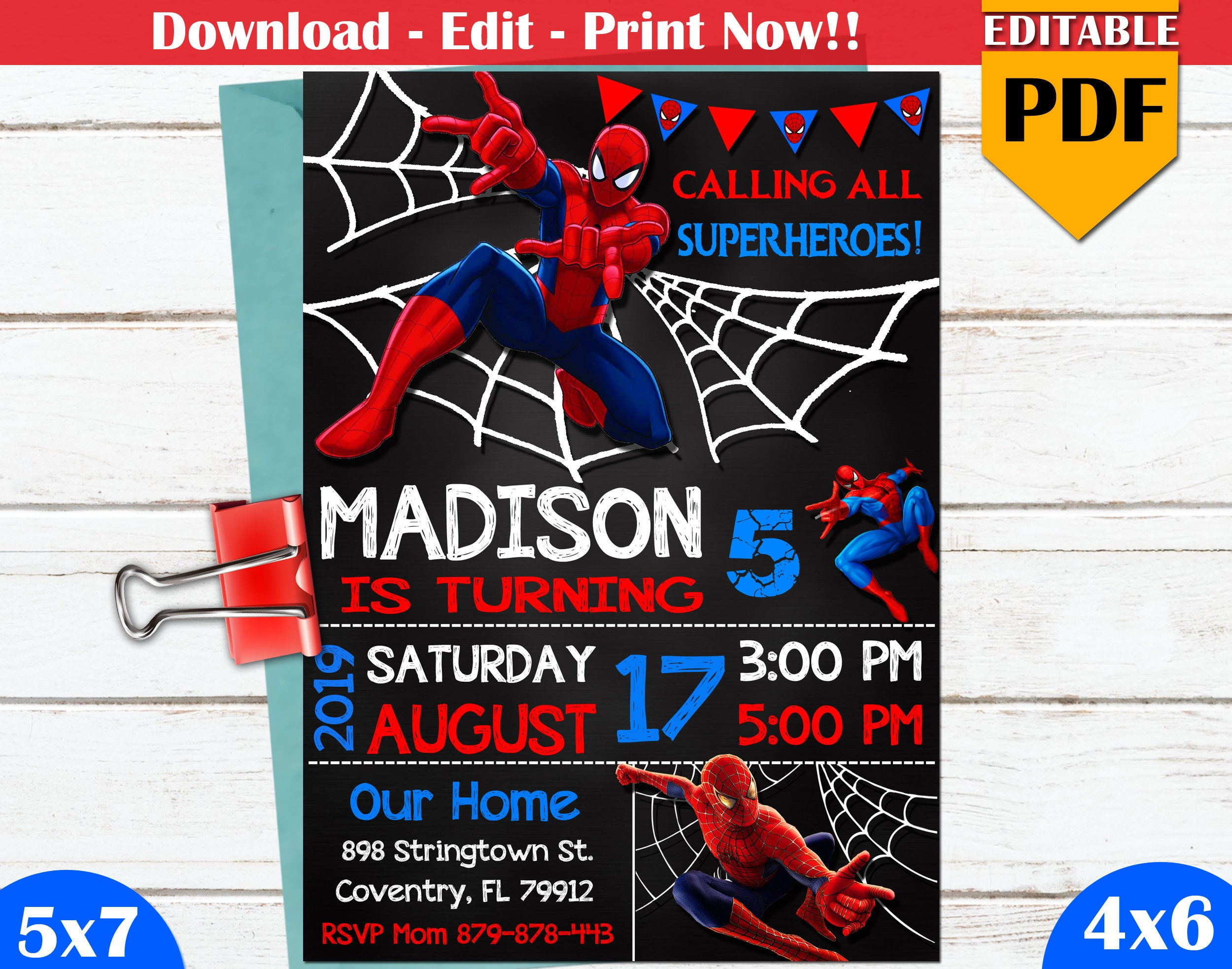 This is a graphic of Printable Spiderman Invitations with regard to unique