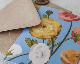 Spring Ranunculus Greeting Card