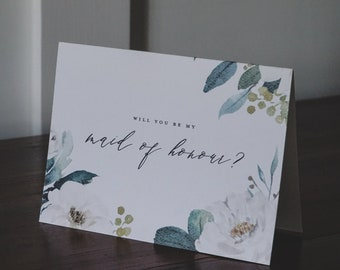 White Floral + Greenery Watercolour Maid of Honour Ask Greeting Card on Textured Card Stock